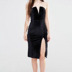 Midi Velvet Black Bodycon Party Dress with Slit